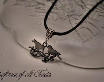 Necklace Pendant Nevermore crow black bird