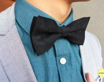 Black Bow Tie, Black Wedding Bow Tie, Wedding Bow Tie, Adjustable Bow Tie, Valentine's Day