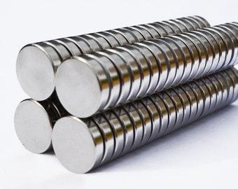 "25/50/100 MAGNETS 3/4"" X 1/4"" cylinder / disk RARE EARTH N45 Neodymium (B8)"
