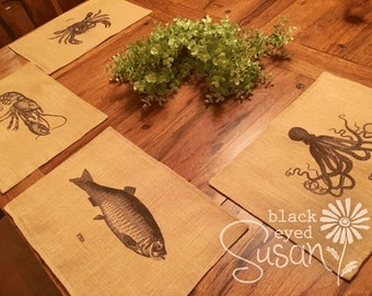 "Sea Animal Placemat of Natural Burlap or Canvas | Fully Lined w/ Cotton Canvas Backing | 11"" x 16"""