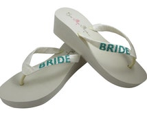 Wedge Bride Flip Flops - Ivory or White Heel Bridal Flip Flops, Wedding Jade Blue Green any color glitter- all sizes & heel heights