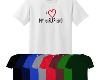I Love Heart My Girlfriend T-shirt Printed Valentines Christmas Gift Mens Womens Ships Worldwide S-XXL