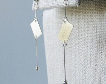 Sterling silver dangle drop earrings, modern minimalist abstract sculptural earrings, sterling silver ball post art jewelry drop earrings