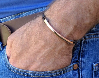 Copper Bar and Leather Bracelet