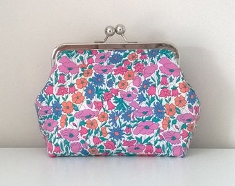 """Handmade Limited Edition Make-Up Bag in Liberty's """"Poppys & Daisys"""" Tana Lawn fabric with kiss lock frame"""