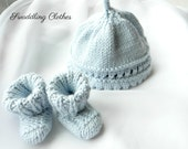 Icy Blue Preemie Hat and Bootie Set