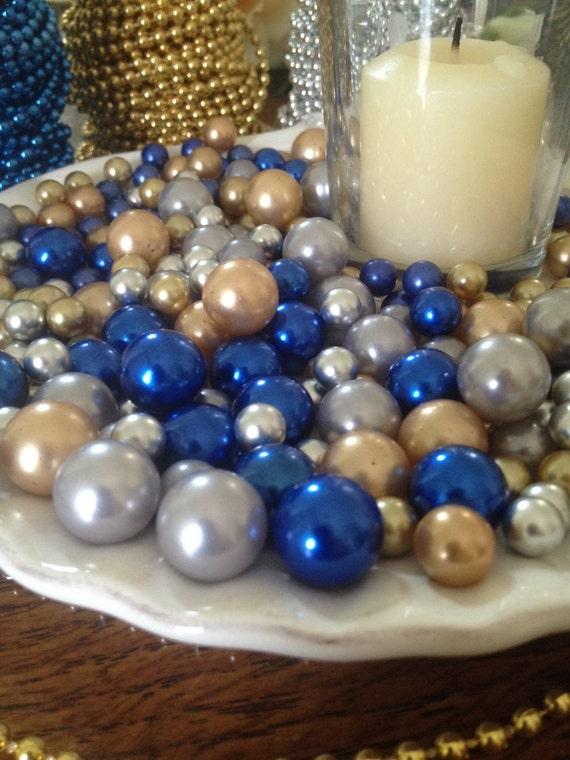 265 Pcs Pearl Bead Vase Fillers Royal Blue Gold Silver