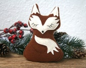 Christmas decorations / fabric ornaments - 'Sleeping Fox'