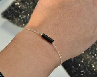 Simple Onyx Tube Bracelet   Matte Black Cylinder Bracelet    Gold or Silver Chain Bar Bracelet