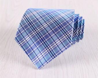 blue plaid tie.gingham necktie.silk necktie for wedding.3.5inch tie.anniversary gift for him.check tie for groomsmen.mens neck tie+nt.s439