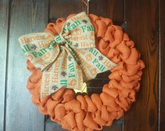 Fall, Fall Wreath, Autumn Wreath, Thanksgiving, Thanksgiving Wreath, Welcome Wreath, Orange Wreath, Harvest Wreath