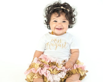 Miss Month Shirt, Birthday Party, Age, Miss, Birthday, Miss August, Miss November, Glitter Shirt, Choose from - baby, infant, toddler, girls