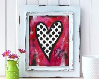 Red Heart Mixed Media Print. Heart Art Print. Whimsical Heart Wall Art. Love Art. Romantic Gift. Gift for Him. Gift for Wife. Gift for Her.