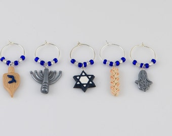 Jewish Wine Charms (6) - hand sculpted in Polymer Cay