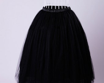 Black Tea Length Tulle Skirt, Tulle Skirt for Adult, Tutu Skirt for Women, Wedding Tulle Skirt, Plus Size Tulle Skirt