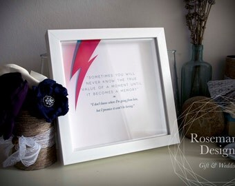 David Bowie and Iman quote in an 8x8 Box Frame—Donation to Cancer Charity of your Choice