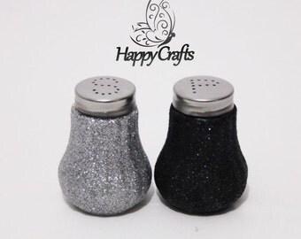 Glitter Salt & Pepper Shakers Set Black and Silver