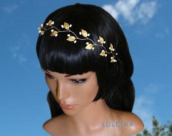 Wedding hair piece, pearl bridal headband, wedding headpiece, gold leaf headband, greek wedding, goddess head piece, bridal hair accessories