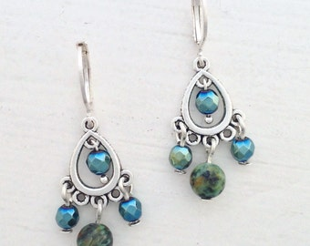 Chandelier earrings - African turquoise and hematite