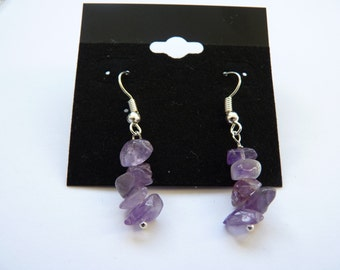 Amethyst Gemstone Chip Earrings