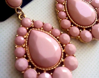Vitreous enamel blush drop earrings