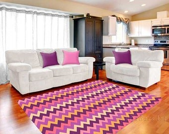 Chevron Rug Purple Pink Yellow Cream Area Soft Bedroom Rugs