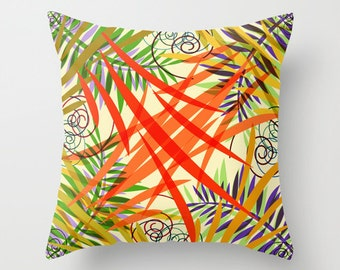 Floral Pillow Cover, Yellow, Red, Orange Pillow, Colorful Pillows, Decorative Pillow, Throw Pillows, Cushions, Living Room, Sofa Pillows