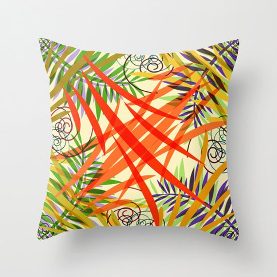 Yellow And Red Decorative Pillows : Items similar to Floral Pillow Cover, Yellow, Red, Orange Pillow, Colorful Pillows, Decorative ...