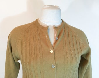Vintage Brown Sweater Light Brown Cardigan Sweater Brown Button Down Cardigan Tan 1950s Sweater Swing Sweater Rockabilly Hipster
