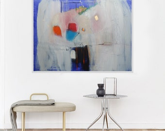 Abstract Large Canvas Art Modern Horizontal Painting White Blue Orange Red Grey Contemporary Artwork Wall Decor 43 x 30 in 110 x 75 cm