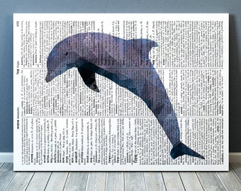 Dolphin art Nautical print Geometry print Sealife poster TOA119-1