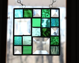 "Square Stained Glass Panel - 5.5"" Framed Block Pattern with Clear, Bevel & Green Glass"