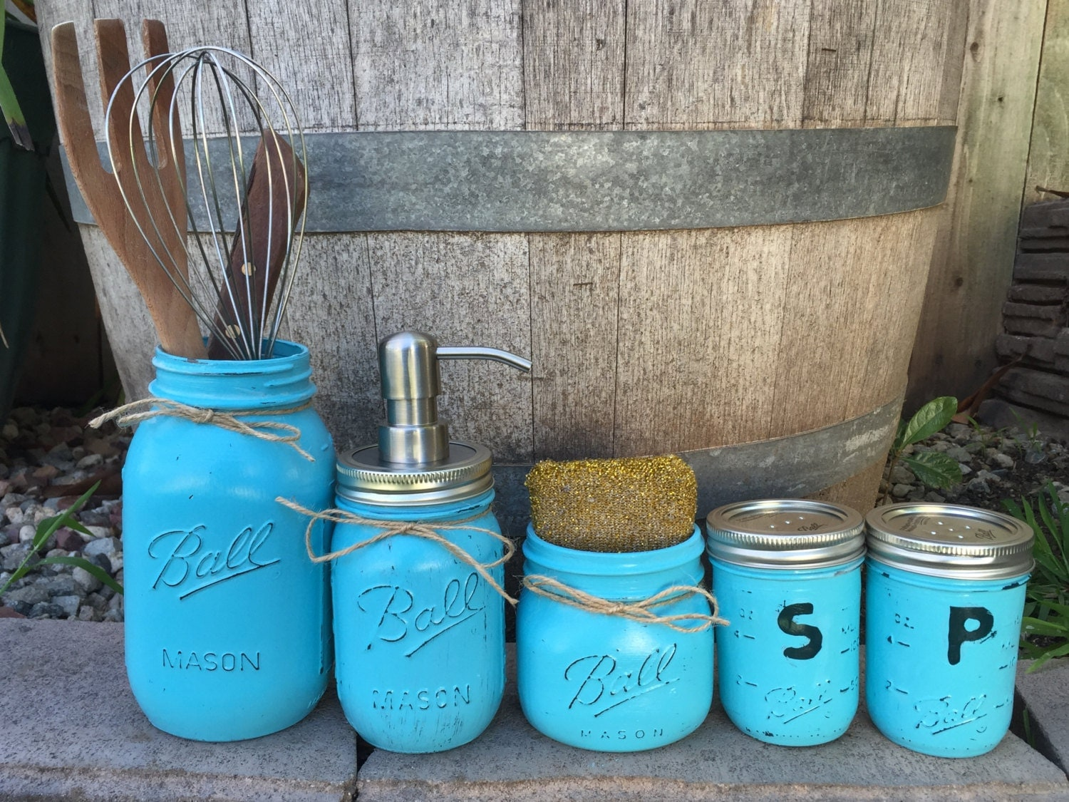 Mason jar kitchen set kitchen utensils kit farmhouse decor for Kitchen jar decoration
