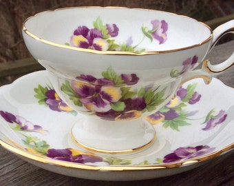 Hammersley Beauty-Purple and Yellow Pansies Pedestal Teacup and Saucer