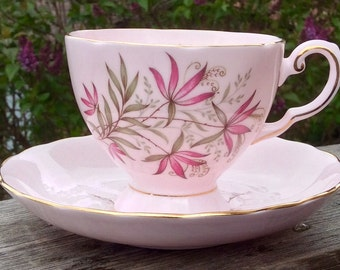Perfectly Mismatched Tuscan Blush Liky Pedestal Teacup and Saucer