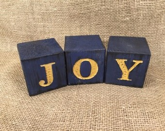 Rustic Wood Blocks Engraved with JOY - Home Decor