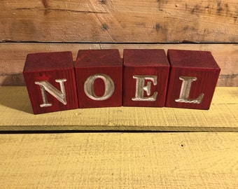 Rustic Wood Blocks Engraved with NOEL - Home Decor