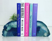 Blue Agate Bookend Sets // Boho Decor // Available in Pink, Purple, Blue & Teal