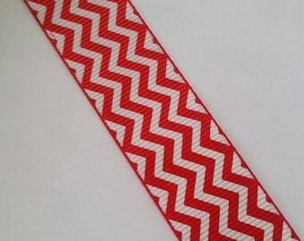 "5yd Red White Chevron Zigzag Print 7/8"" 22mm hair bow supplies ribbon grosgrain printed scrapbook"