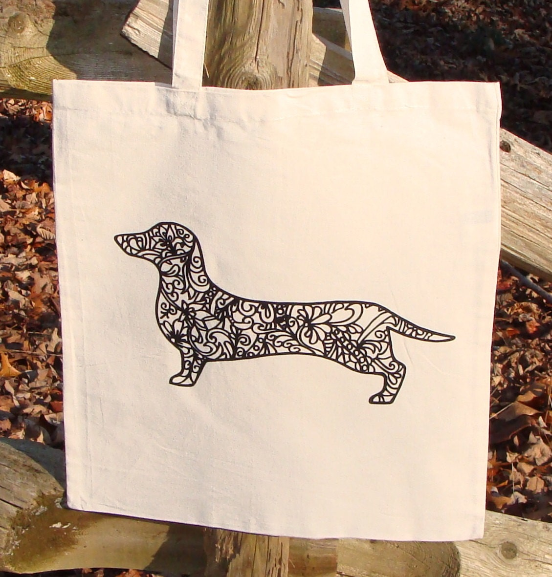 Dachshund Dog Tote Bag Market Bag Zendoodle Doxie Puppy Adult