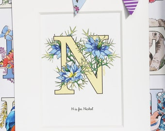 Alphabet Pictures - N : Personalised Prints