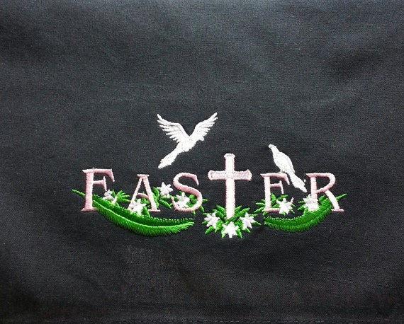 Embroidered Black Easter Dish Towel