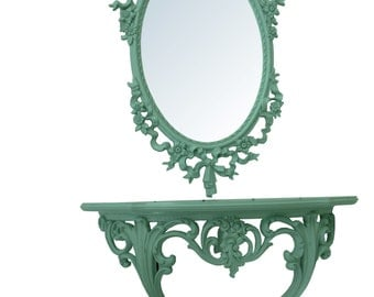 French Bow and Tassel Mirror and Console Teal Aqua French Mirror Teal French Console  Cottage Painted Mirror and Console