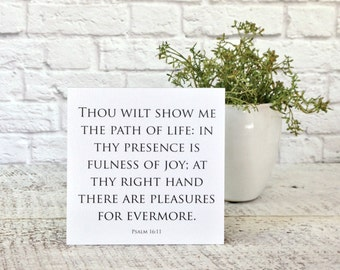 Bible Verse Sign, Small Scripture Signs, Path of Life, Psalm 16:11, Word Sign, Quote Sign, Inspirational Sign, Bible Verse, Scripture Words