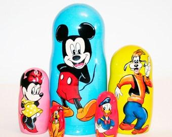 Nesting doll Mickey Mouse Disney for kids signed matryoshka russian dolls
