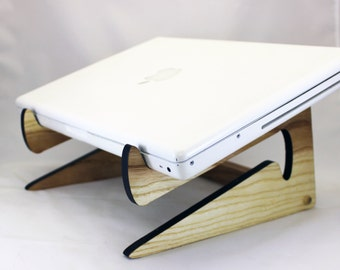 Wood Laptop stand . Reclaimed Urban Wood . eco Urban Timber