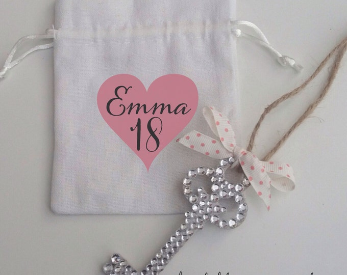 Crystal hanging wooden Key with bag, personalise with any name/message. Valentine, Birthday key, gift. Any colour ribbon & design.