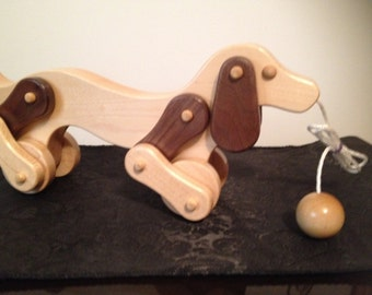 Charming Collectible HANDCRAFTED Wooden DOG Pull TOY in Maple and Walnut