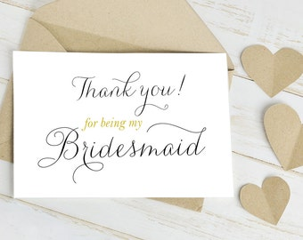 Thank You for Being my Bridesmaid Geeting Card  - Wedding Day Card is Blank Inside for Your Personal Message to your Bridesmaid