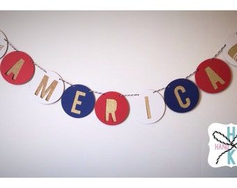 America Banner July 4th Memorial Day Labor Day Garland BBQ Summer USA Party Decor